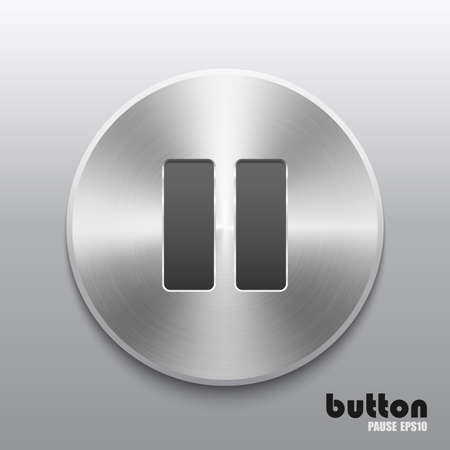 nickel panel: Round pause button with brushed metal texture Illustration