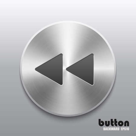 Round rewind back button with metal brushed texture