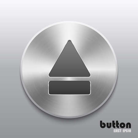 eject: Round eject button with metal brushed texture Illustration