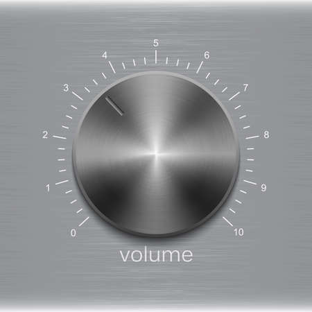 Volume button with dark metal steel brushed texture and number scale