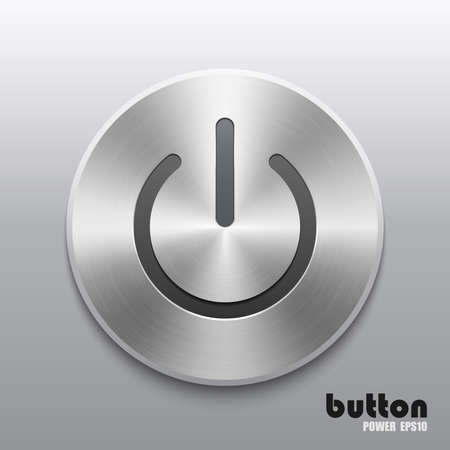 Power button with metal brushed aluminum chrome texture Illustration