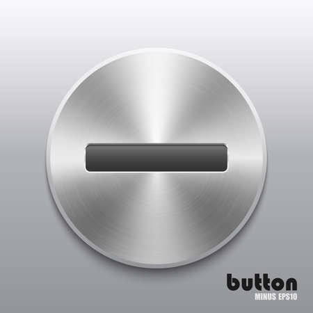 nickel panel: Round remove level volume button with metal brushed texture