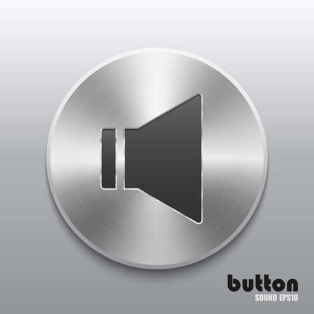 nickel panel: Round sound speaker button with brushed metal aluminum texture isolated on gray background