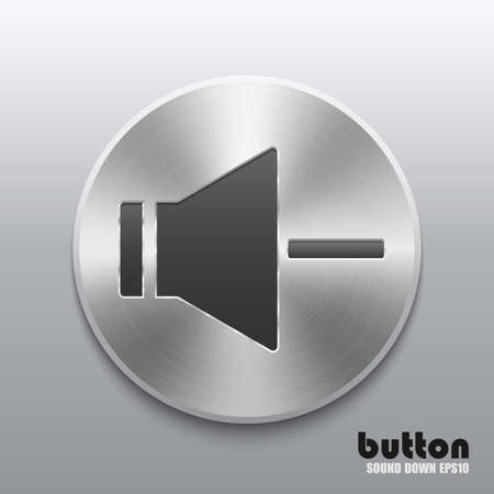 nickel panel: Round speaker button for decrease sound with metal brushed texture Illustration