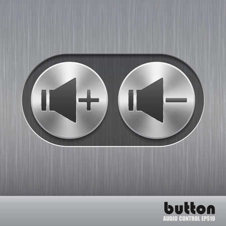 nickel panel: Set of round metal buttons with speaker badge and brushed texture
