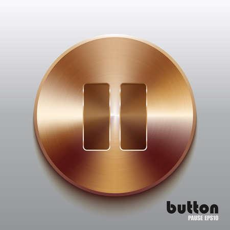 Bronze pause button Illustration