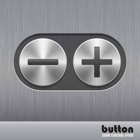 nickel panel: Set of round metal button with brushed texture Illustration