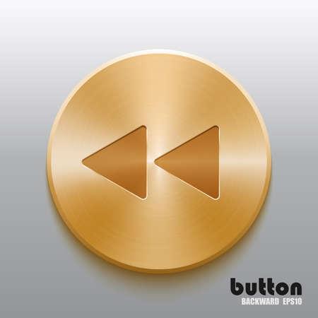 Rembobiner le bouton doré Vecteurs