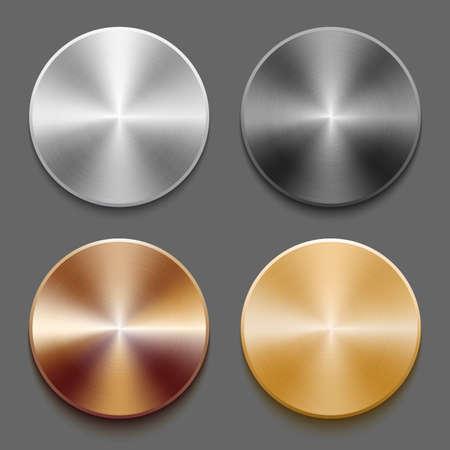 Set of templates metal button Ilustração