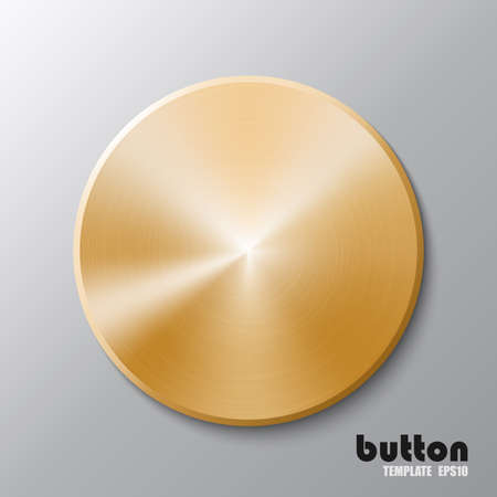 Template of golden disk or button 向量圖像