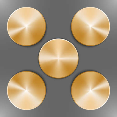 Set of round golden disks