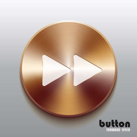 Rewind forward round button with white symbol and brushed bronze texture isolated on gray background Illustration