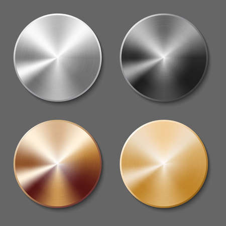 Set of round templates of metal button with gold, aluminum, steel and bronze metal texture isolated on gray background Illustration