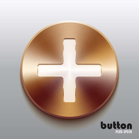 cooper: Round plus button with white symbol and brushed bronze texture isolated on gray background
