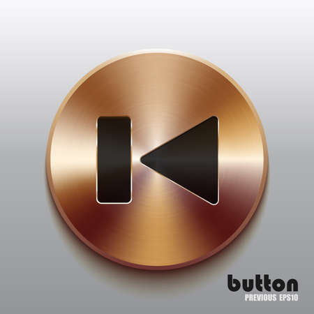 Rewind previous round button with black symbol and brushed bronze texture isolated on gray background