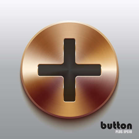 cooper: Round plus button with black symbol and brushed bronze texture isolated on gray background