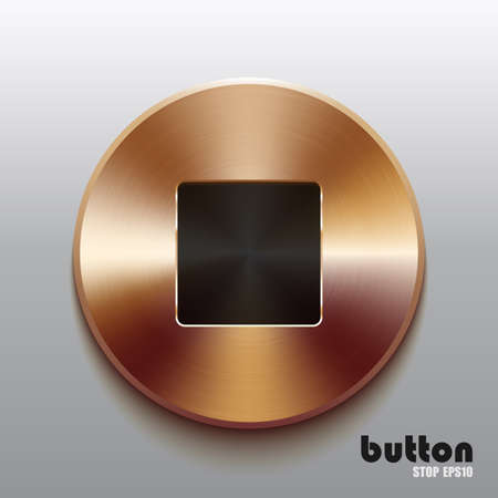 Round stop button with black symbol and brushed bronze texture isolated on gray background Illustration
