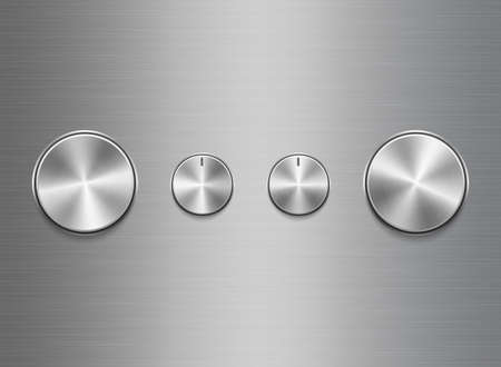 Template of panel of sound control with metal aluminum or chrome brushed texture isolated on aluminum texture background