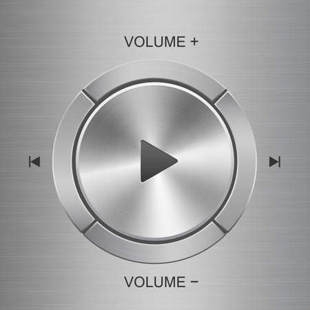 Audio and volume control panel with silver metal texture buttons situated around main play button on metal texture background