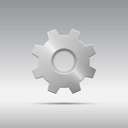 brushed aluminium: Icon metal gear with cogs Illustration