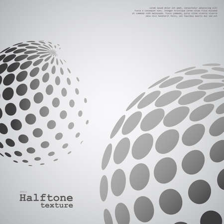 Abstract background of the halftone spheres in grayscale color and with example of text, created for business advertising, presentation, logo, web