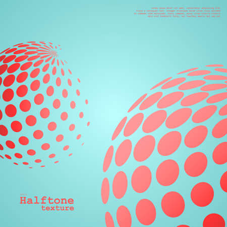 Abstract background of the halftone spheres in red color Ilustração