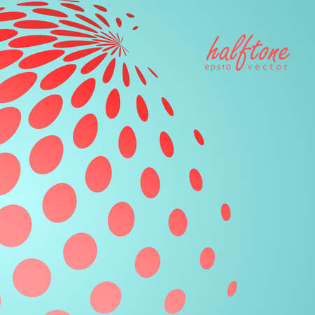 Abstract halftone sphere in red color on compliment color background Illustration