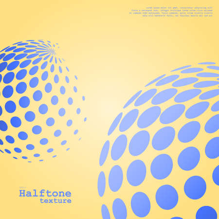 Abstract background of the halftone spheres in blue color on compliment color background and with example of text, created for business advertising, presentation, logo, web