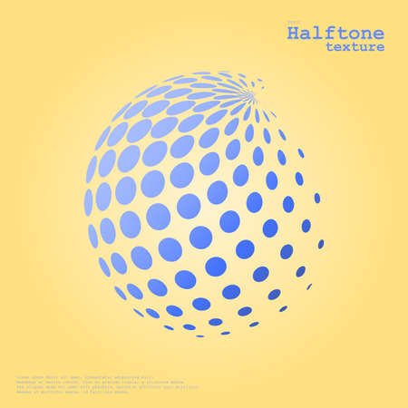 Abstract halftone sphere in blue color and complement color background