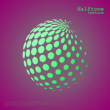 Abstract halftone sphere in green color and complement color background