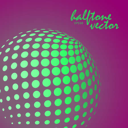 Abstract halftone sphere in green color on compliment color background and with example of text, created for business advertising, presentation, logo, web