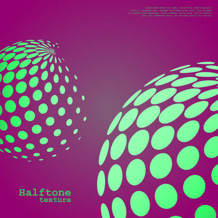 Abstract background of the halftone spheres in green color on compliment color background and with example of text, created for business advertising, presentation, logo, web