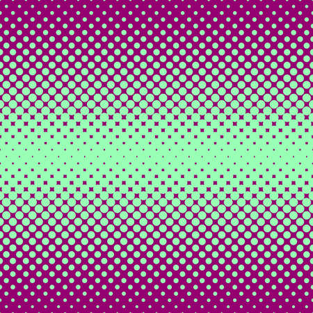 Monochrome halftone abstract background of circular elements in green and compliment colors and in the direction from the center to the sides vertically