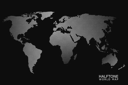 Halftone dotted vector world map in white color with black background