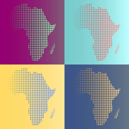 Set of halftone vector Africa map in multicolors. All colors are complement Ilustração