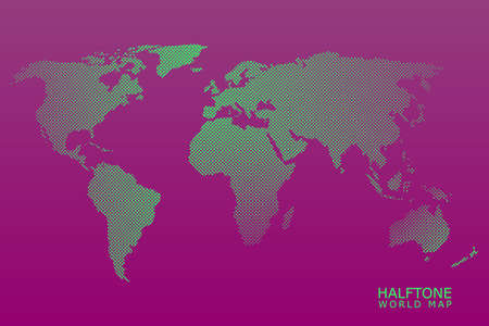 Halftone vector world map