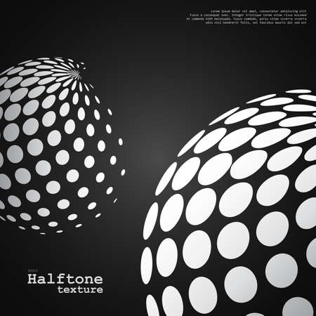 Abstract background of the halftone spheres in white color on black color background and with example of text, created for business advertising, presentation, logo, web