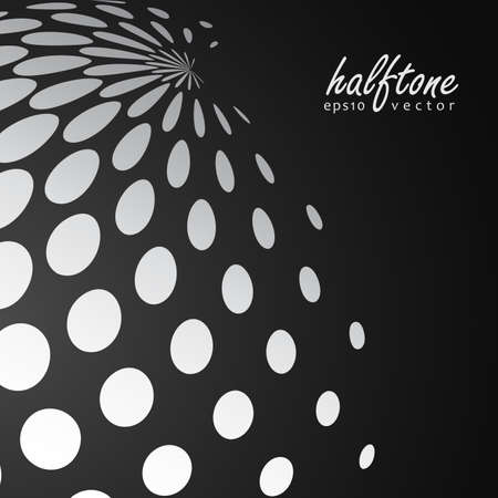 Abstract halftone sphere in white color on black color background and with example of text, created for business advertising, presentation, logo, web