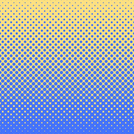Halftone abstract background of circular elements in blue and complement colors and in the direction from bottom to top