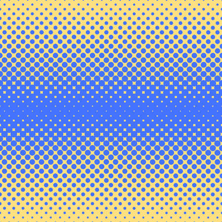 Halftone abstract background of circular elements in blue and complement colors and in the direction from the center to the sides vertically