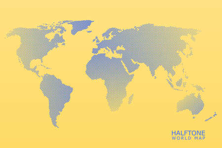 Halftone dotted vector world map in blue color with orange background