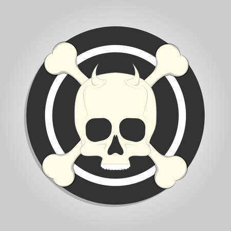 Skull and crossbones over black and white target like sticker for print isolated on gray background Banco de Imagens