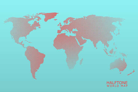 Halftone dotted vector world map in red color with light blue background