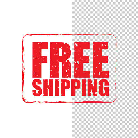 Free shipping grunge red stamp isolated on white and transparent background