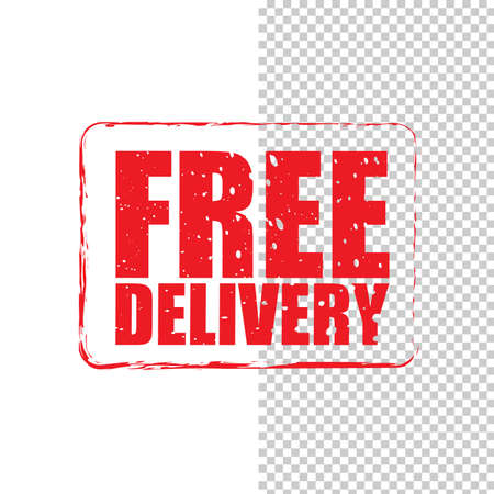Free delivery grunge red stamp isolated on white and transparent background