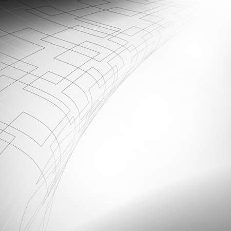 Gray and white abstract mesh surface with perspective design