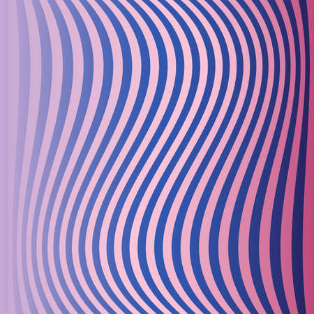 Blue and pink abstract curved vertical stripes colorful background for design
