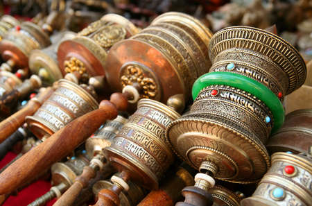 Prayer mills on sale in Lhasa Tibet