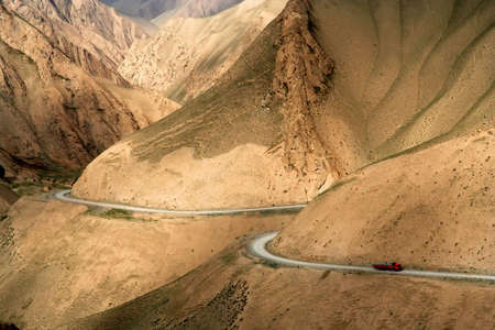 Remote mountain road in Xinjang province in China