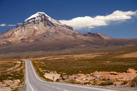 Beautiful road through Nevado Sajama National Park Bolivia Stock Photo - 5079318